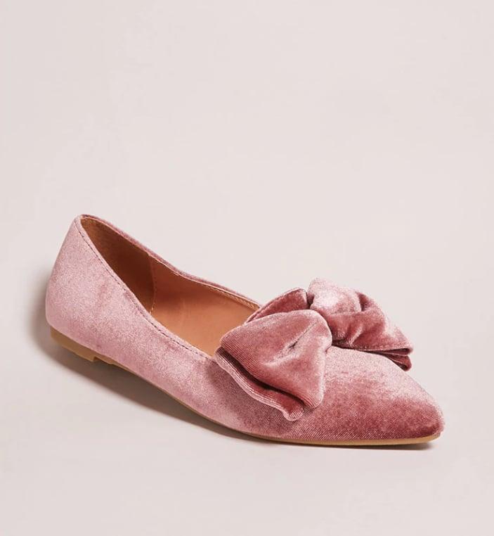 Forever 21 Velvet Bow Pointed-Toe Flats  bd905d7611