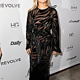 Moss went supersexy for The Daily Front Row's 7th annual Fashion Media Awards in this sheer gown with velvet details.