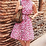 Dianna Agron posed on the streets of Marrakech wearing a pretty pink printed dress, juxtaposed by a big leopard-print bag.  Billy Farrell/BFAnyc.com