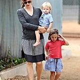 Jennifer Garner was at the park with Seraphina and Samuel.