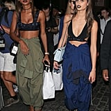 Jasmine Tookes and Taylor Hill wore their sporty bralettes with baggy pants.