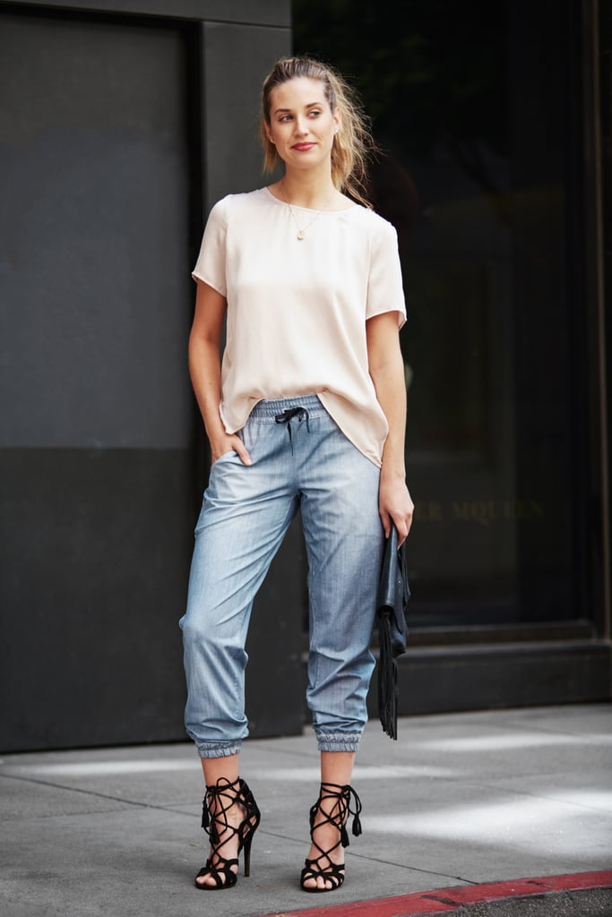 The lucy indiGO Do Everything Jogger might be the most comfortable and versatile workout pant there is. While loose-fitting pants typically lend themselves toward more casual outfits, Liz changes things up by wearing them with a silk top and lace-up heels.