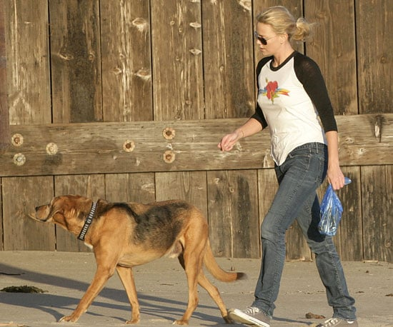 Photo of Charlize Theron Walking Her Dog in Malibu