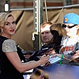 Kate Winslet signed autographs at the Titanic 3D world premiere in London.