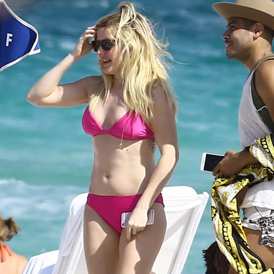 Ellie Goulding Pink Bikini and Cover-Up in Miami April 2016