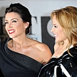 Dannii and Kylie Minogue had a laugh on the Brit Awards red carpet.