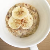 Microwaveable Mug Oatmeal With Peanut Butter and Banana