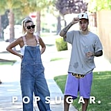 Hailey Baldwin and Justin Bieber Wearing Similar Colourful Sneakers