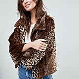 Jayley Curly Faux Fur Leopard Print Jacket