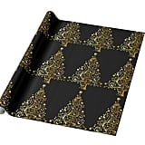 Merry Christmas Tree Stars Black Gold Shiny Wrapping Paper