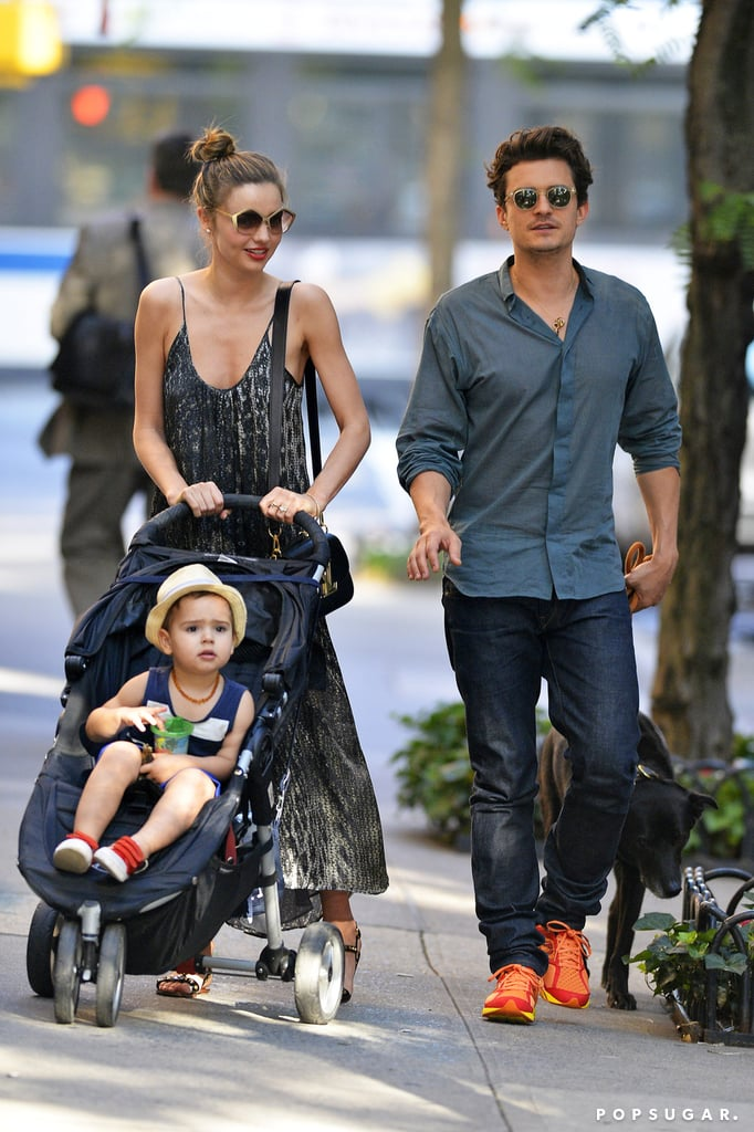 Miranda Kerr and Orlando Bloom walked with Flynn in NYC.