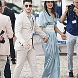 Priyanka Chopra Wearing a Blue Silk Dress and Laser Cut Belt at Cannes With Nick Jonas