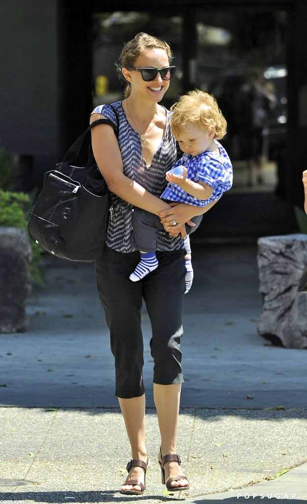 Natalie Portman carried Aleph Millepied on her hip leaving leaving Culver City's Akasha restaurant yesterday. The pair smiled following a lunch date with Rashida Jones, and later in the day, they reportedly visited Benjamin Millepied at a downtown dance studio. Natalie and Benjamin wed in Big Sur earlier this month, and have since been enjoying time on the West Coast. Natalie was spotted taking meetings, and he's returned to choreography. The wedding was perfectly timed during a break in Natalie's schedule, as she recently wrapped Knight of Cups and is set to reprise her role as Jane Foster in the Thor sequel, Thor: The Dark World, very soon in the UK.