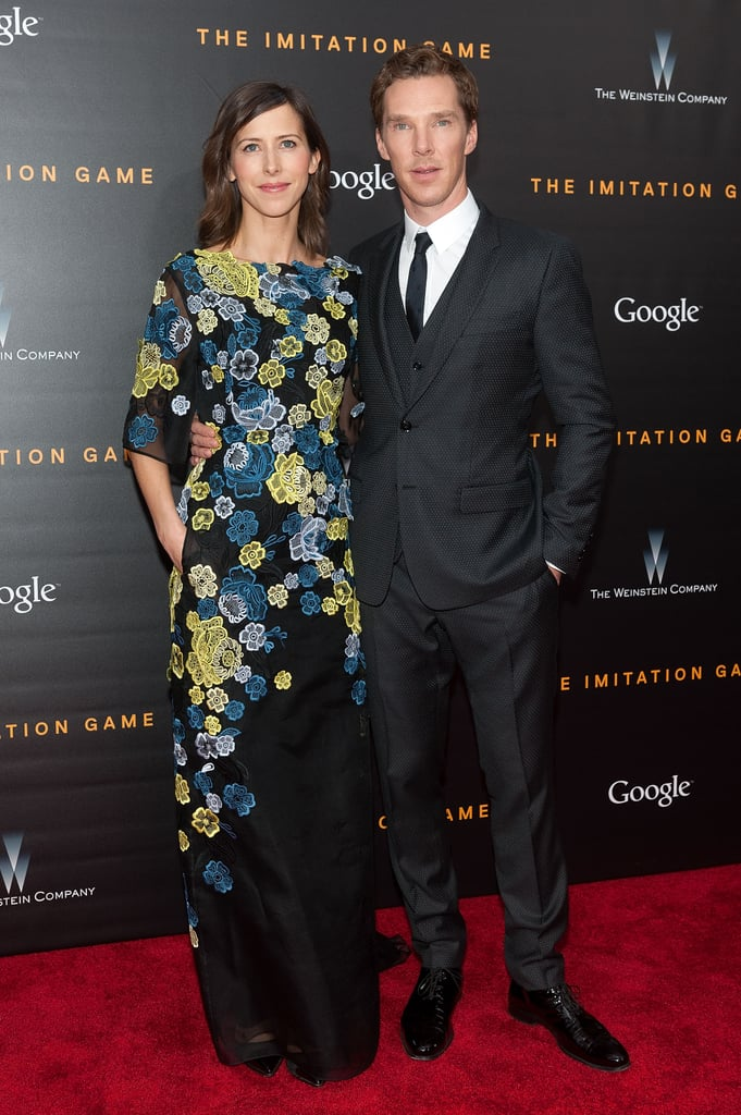 """Benedict Cumberbatch and his fiancée, Sophie Hunter, made their first official appearance together when they attended the NYC premiere of The Imitation Game on Monday. The pair posed on the red carpet together after Benedict took snaps with his other main lady — costar Keira Knightley. Sadly, Sophie kept her hands firmly out of view, which means we'll have to continue to wait for a glimpse of her engagement ring from Benedict. Before he dropped by the premiere, Benedict visited The Tonight Show Starring Jimmy Fallon, where he attempted to get the host to say the word """"booty."""""""