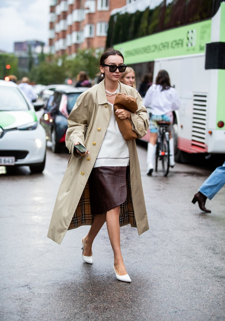 Fall Outfit Idea: Trench Coat + Leather Skirt