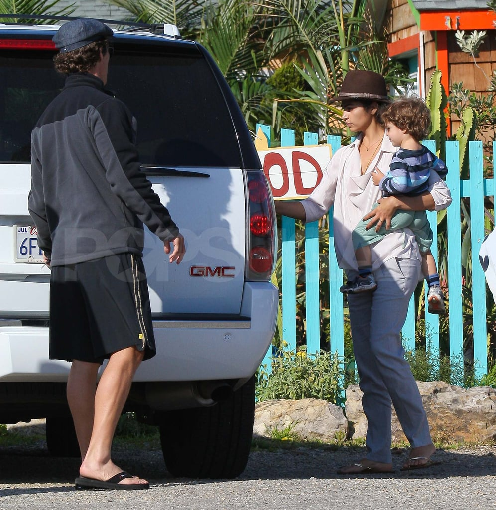 Matthew McConaughey and Camila Alves brought Levi along to pick up plants at a garden shop in Malibu yesterday. The threesome got together after taking care of business separately around town earlier in the morning. The family appears to be sprucing things up at their home since Camila was spotted hitting the flower mart in downtown LA just last week. It's no secret that MM loves his plot of land on the coast, and he takes full advantage of the gorgeous location with consistent beach workouts and fun neighborhood get-togethers.