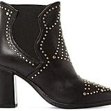 Steve Madden Ladies Black Himmel Studded Leather Ankle Boots