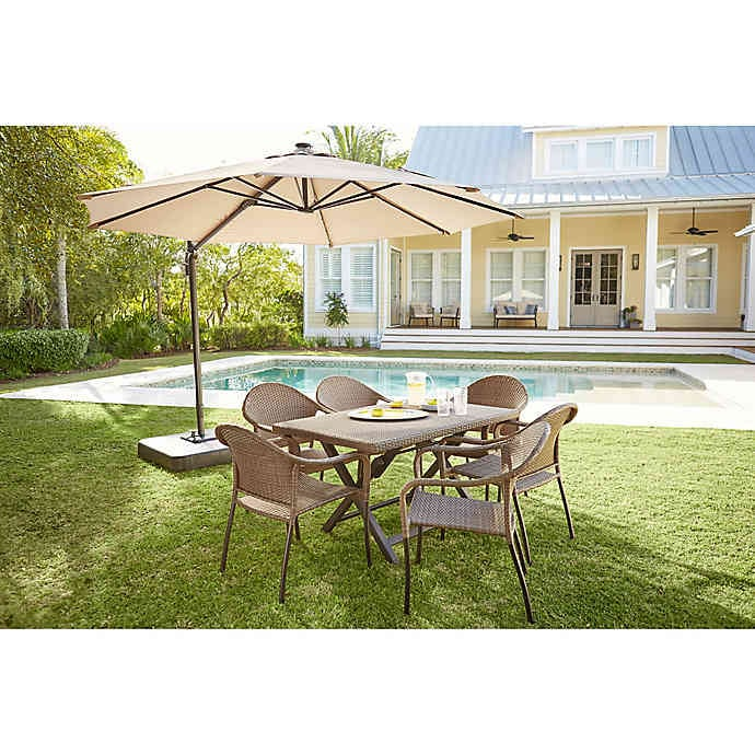 Bed Bath & Beyond 11-Foot Round Solar Cantilever Umbrella