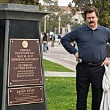 Ron (Nick Offerman) unveils a Founder's Day memorial.