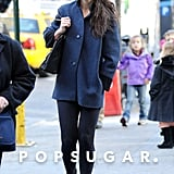 Katie Holmes sported ankle booties and leggings.
