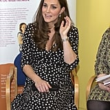 For an outing to the Brookhill Children's Centre in Oct. 2015, Kate chose a sweet, polka-dot dress from Asos's maternity line. It was feminine and cute, with the print echoing her Jenny Packham dress (the one she wore when she showed off Prince George to the world).