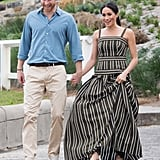 Meghan's Martin Grant dress cascaded down to the sand at Bondi Beach in Sydney.