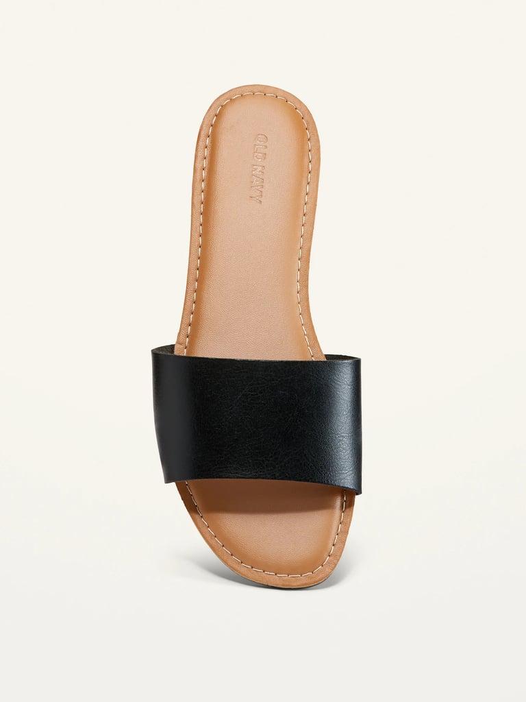Faux-Leather Slide Sandals