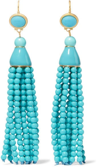Perk up a black cocktail dress in one simple step with these stunning Kenneth Jay Lane tasseled gold-toned beaded earrings ($150).
