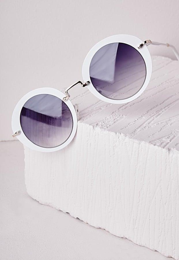 Missguided Retro Frame Sunglasses White ($24)