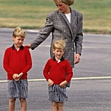 William and Harry wore adorable matching ensembles as they arrived in Aberdeen, Scotland, with Princess Diana in August 1989.