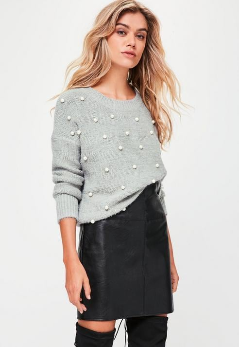 8916eafa3b5 Missguided Grey Embellished Knitted Jumper