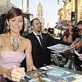 Jessica Biel hung out with fans outside of the Total Recall premiere in LA.