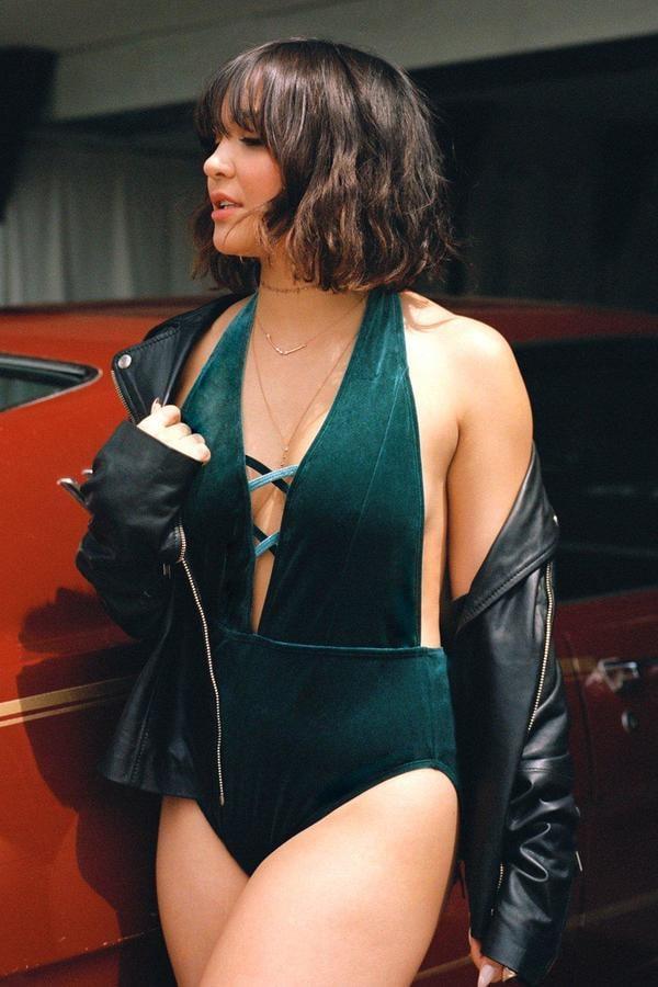 Boohoo Boutique Velvet Criss Cross Plunge Swimsuit
