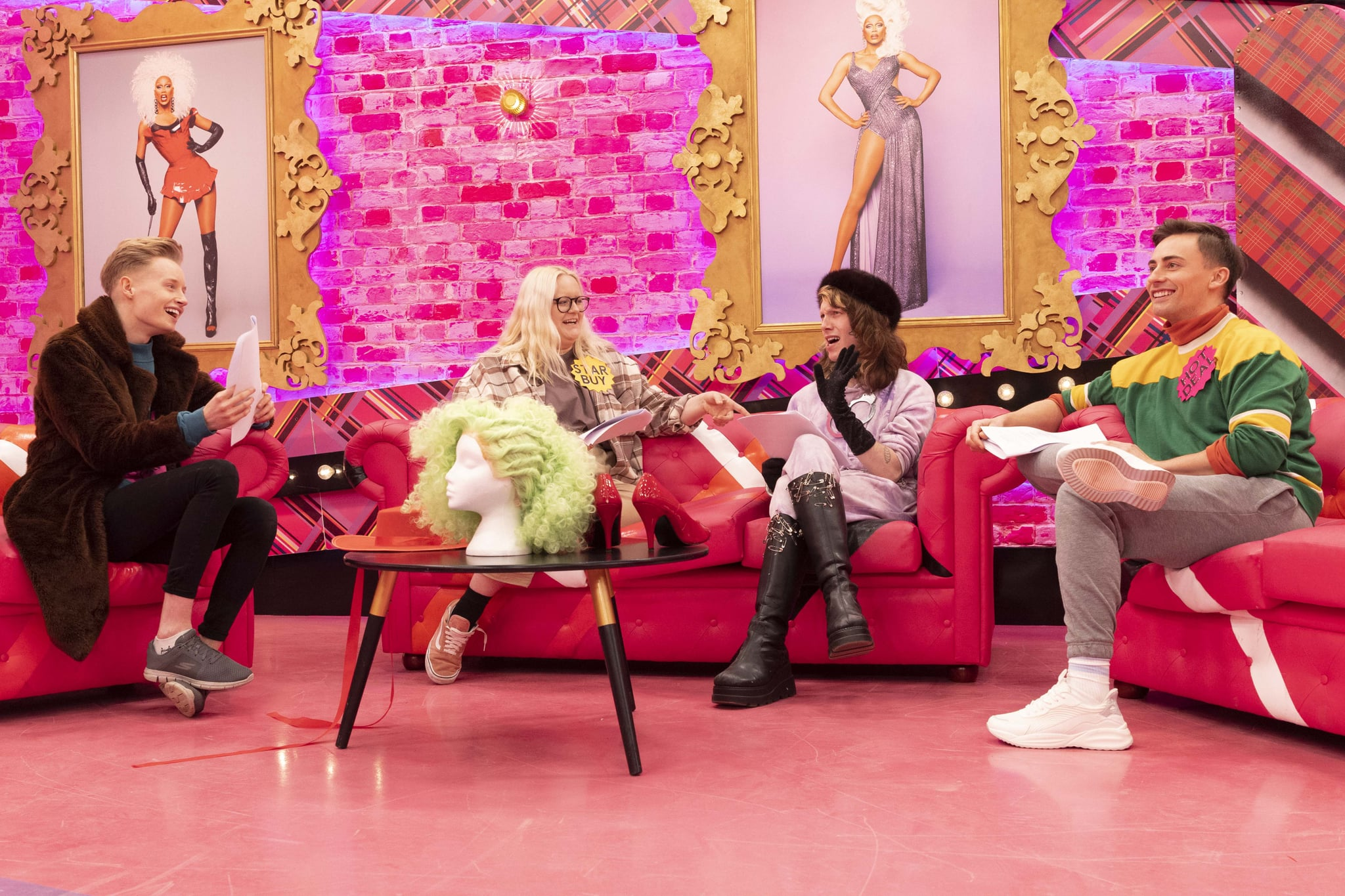WARNING: Embargoed for publication until 20:00:00 on 30/09/2021 - Programme Name: RuPaul's Drag Race UK series 3 - TX: n/a - Episode: RuPaul's Drag Race UK series 3 ep2 (No. 2) - Picture Shows:  Scarlett Harlett, Victoria Scone, Charity Kase, Ella Vaday - (C) World of Wonder - Photographer: Guy Levy