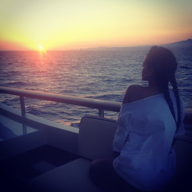 Rihanna admired a sunset while vacationing on a yacht in July. Source: Instagram user badgalriri