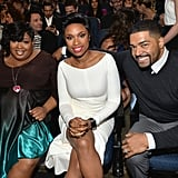 Jennifer sat in the front row with her sister, Julia, and husband David Otunga.