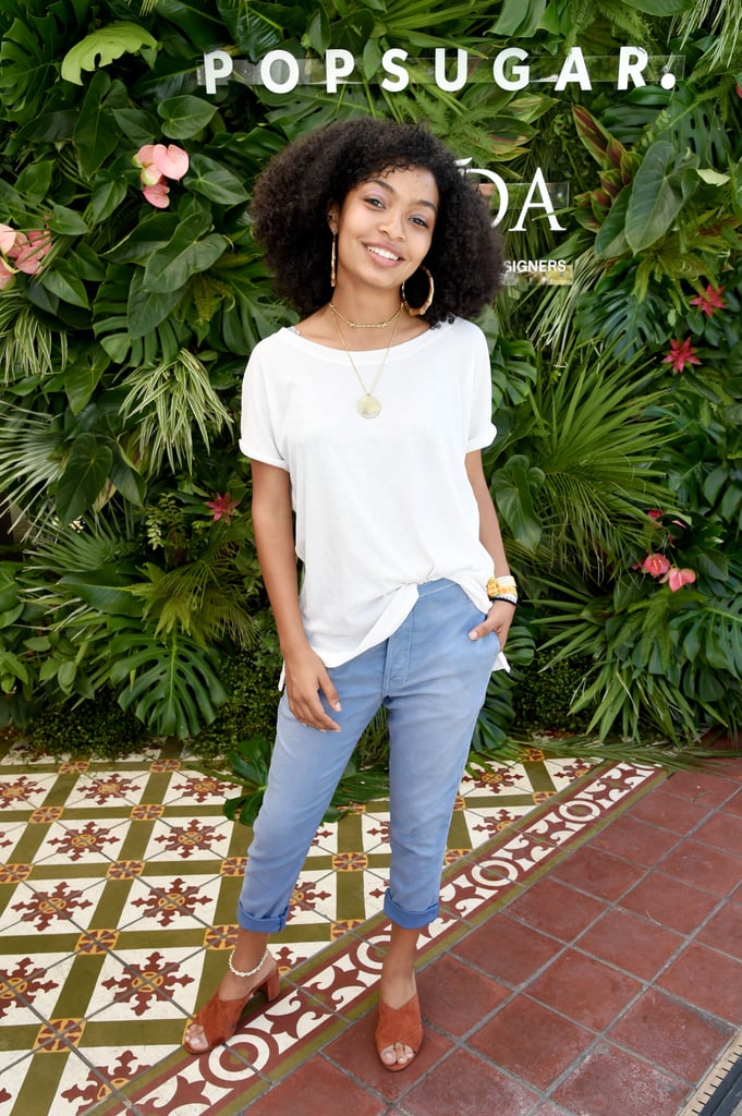 Yara Shahidi wearing a T-shirt, jeans, and mules at the POPSUGAR x CFDA brunch.