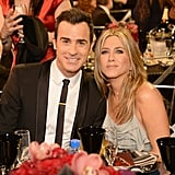 Pictured: Justin Theroux and Jennifer Aniston
