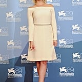 Ashley Benson covered up in a cream-hued off-the-shoulder number. The silver braided belt cinched at the waist gave this more modest red-carpet outfit its polish.