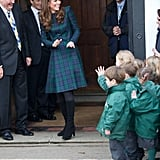 Kate waved to kids at her former school.