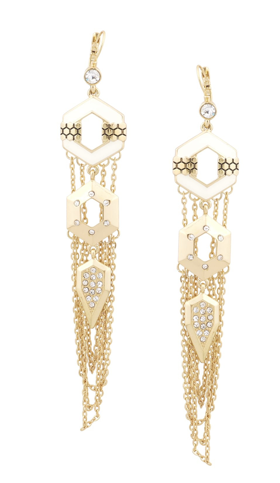 Honey Hexagon Drop Earrings With Chain In Gold