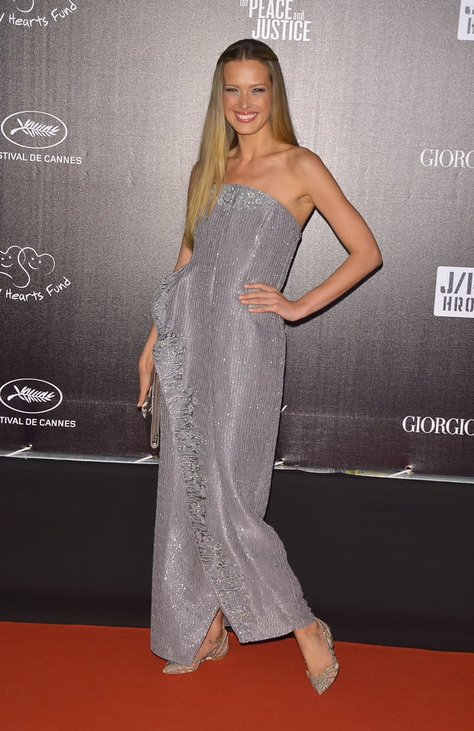 Petra Nemcova slipped into a silvery strapless for the Haiti: Carnival benefit.