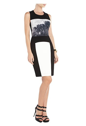 Outlined in ultraslimming black, this BCBGMAXAZRIA Lia Printed Sheath Dress ($228) defines your shape and delivers a cool photo print for a unique take on cocktail dressing.