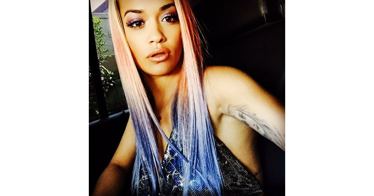 Rita Ora Hair Singer Dyes Her Blue Hair Yellow: Celebrities With Rainbow Coloured Dyed Hair