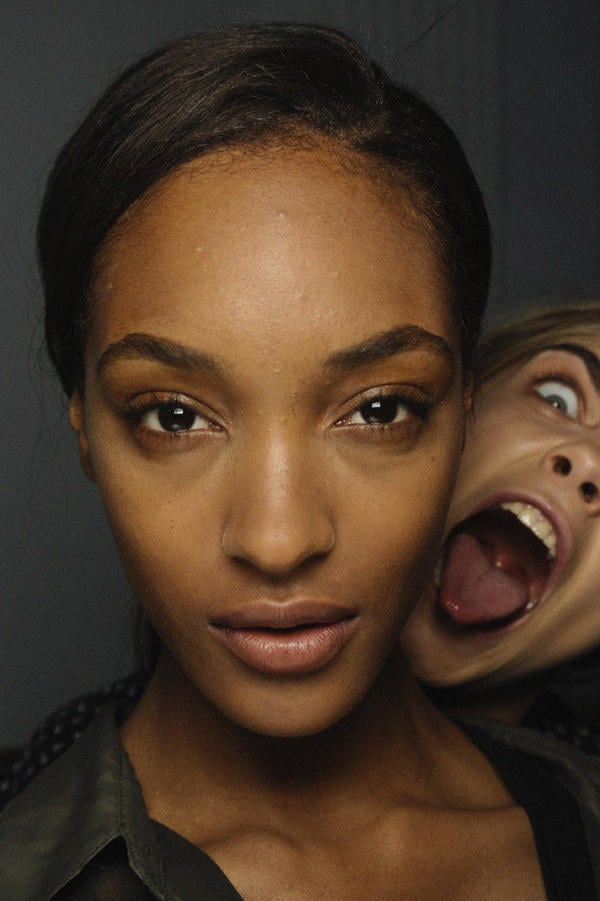 The sass & bide girls spotted models Jourdan Dunn and Cara Delevigne messing around backstage. Source: Twitter user sass_and_bide