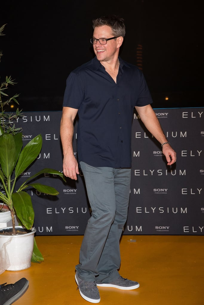 Matt Damon went casual to promote his new movie, Elysium, in Cancun, Mexico, on Saturday. He posed at a photocall with his costars Sharlto Copley and Diego Luna, as well as the film's director, Neill Blomkamp, and snapped pics on his phone of photographers and fans. Matt is south of the border as part of the annual Summer of Sony event, where the film studio highlights its upcoming blockbusters before they hit the big screen. He has been spending quite a bit of time in sunny locales as of late — Matt renewed his vows with wife Luciana Damon on the island of St. Lucia earlier this month.  Matt wasn't the only star who was working the press trail in Cancun during Spring break season. Channing Tatum joined up with Jamie Foxx and Maggie Gyllenhaal to showcase their upcoming movie, White House Down, on Friday. Channing and Jamie danced a coordinated performance in front of photographers, as did Maggie.