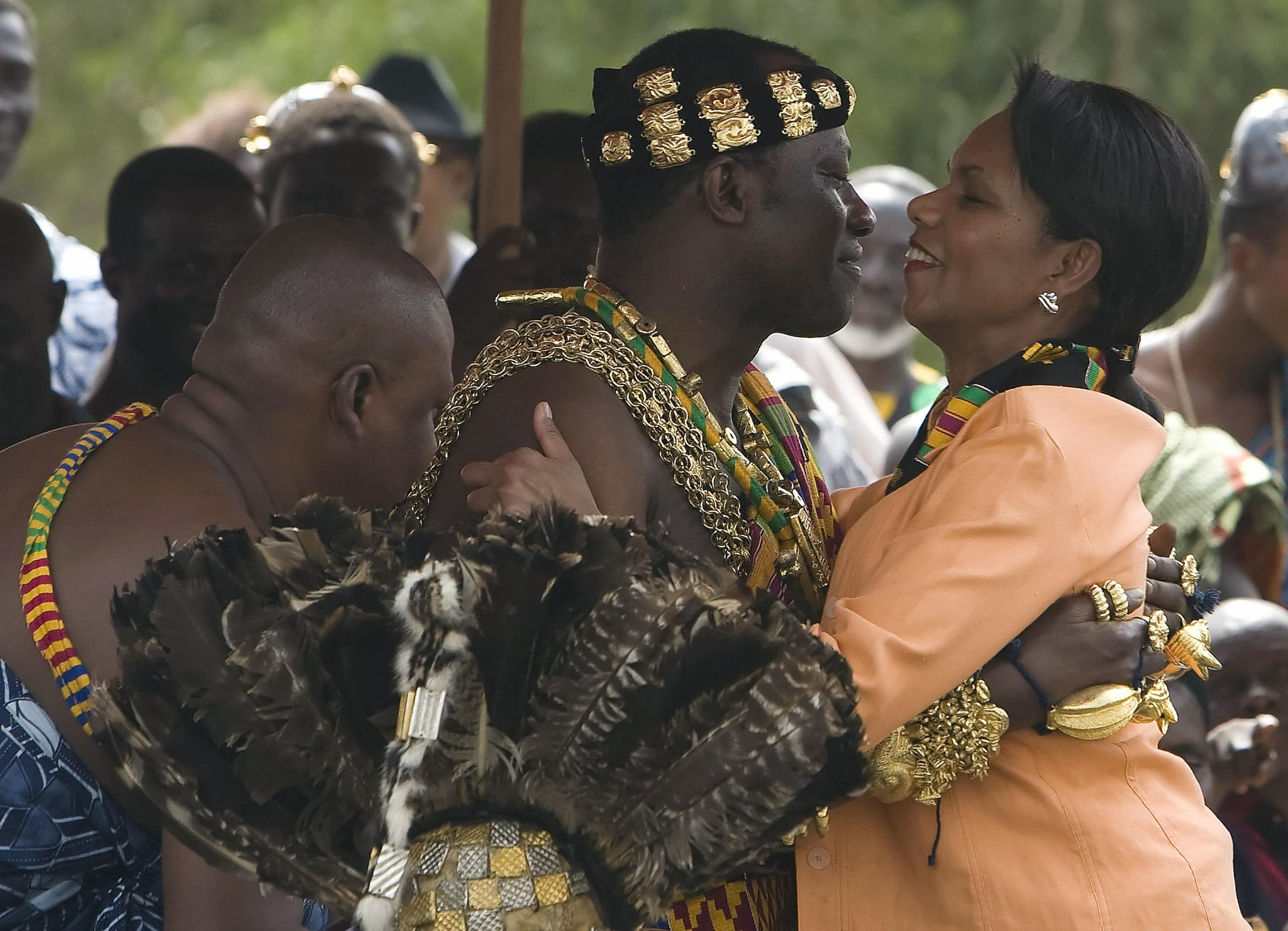 Secretary of State Rice greets tribal leaders in Ghana.