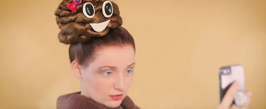 """Poop Emoji Hair"" Is the Laziest, Funniest Halloween Costume Idea For Brunettes"