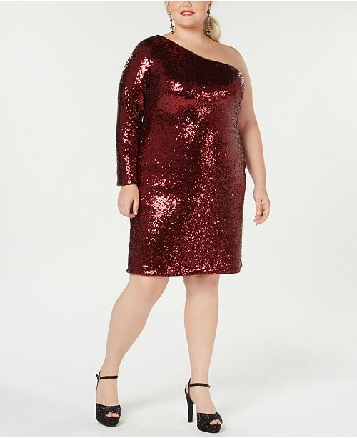Morgan & Company One-Shoulder Sequinned Dress