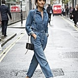 Stay Casual in a Denim Jumpsuit, and Wear It With Mules